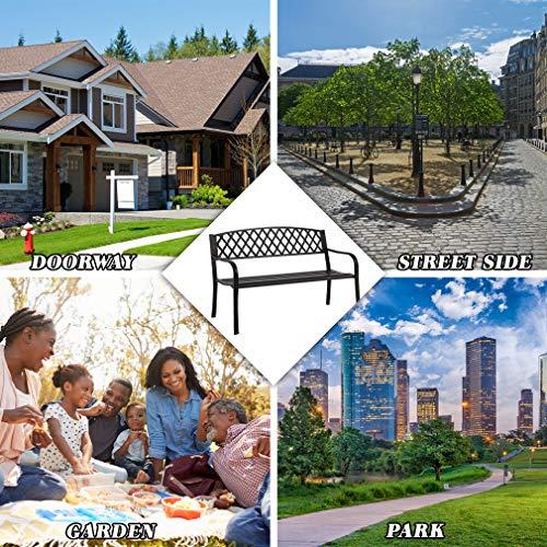 """50/"""" Patio Garden Bench Park Yard Outdoor Furniture Steel Frame Porch Chair N33"""