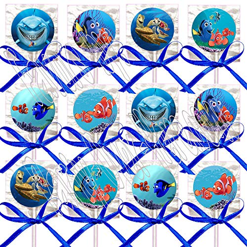 Finding Nemo Lollipops Party Favors Supplies Decorations Movie Lollipops w/Royal Blue Ribbon Bows -12 pcs Dory, Marlin, Nigel ()