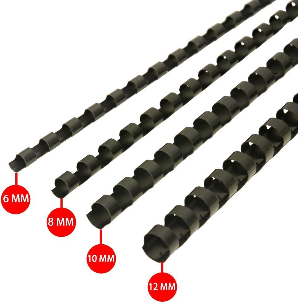 RAYSON - Canutillo de encuadernación (plástico, para 21 anillas, 100 unidades), color negro 6mm,8mm,10mm,12mm