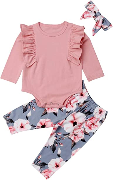 Newborn Baby Girl Clothes Flare Romper Floral Pants 2PCS Winter Outfit Set