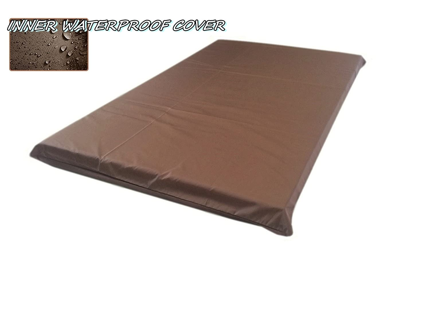 "2 Quantity of 45""x27""x3"" / 48""x29"" Large size Brown Full Waterproof Dog Bed Liner - Internal Cover Case"
