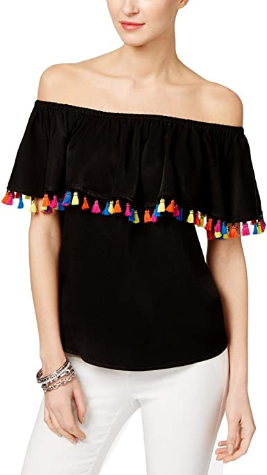 Inc International Concepts Petite Tassel Trim Off The Shoulder Top At Amazon Women S Clothing Store