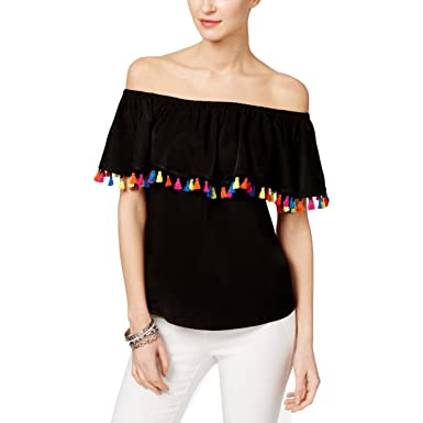 5316ed11916ff INC International Concepts Petite Tassel-Trim Off-The-Shoulder Top at Amazon  Women s Clothing store