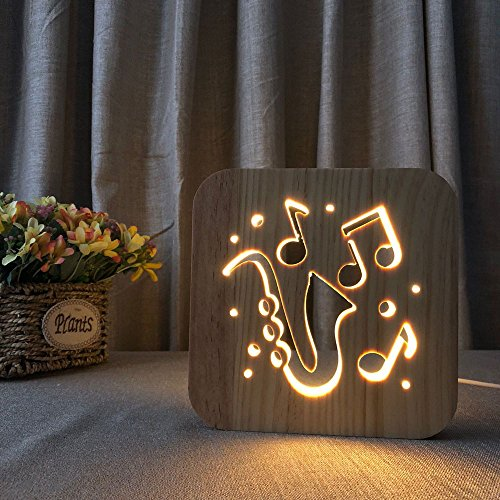 Night Light for Kids Saxophone Wooden 3D Lamp Creative wooden lights simple decorative lights 3D wood carving pattern LED Night Light for Desk Table with USB Powered Home Decoration Best Gift for Kids