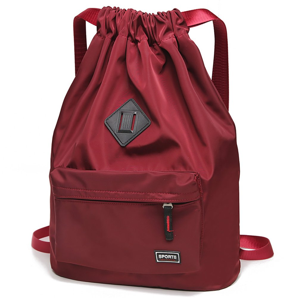Peicees Waterproof Drawstring Sport Bag Lightweight Sackpack Backpack for Men and Women(Wine Red) by Peicees
