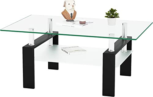 Meihua Rectangle Glass Coffee Table 2-Tier Tea Table Modern Side Coffee Table Review