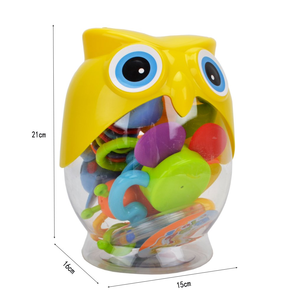 Teether Rattle Set Baby Toy - Happytime SLE84822 (2018 New Design)8pcs Latest Rattle & Teether Toys with Adorable Color in Owl Bottle Gift for Newborn Baby by Happy-Time (Image #7)