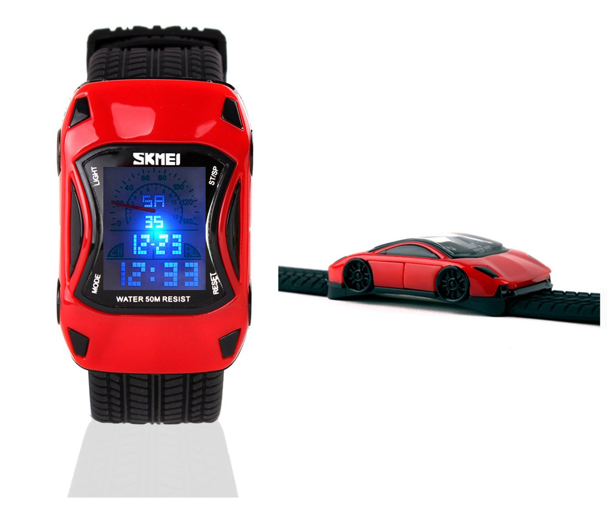 Kids Watches Boys Waterproof Sports Digital LED Wristwatches 7 Colors Flashing Car Shape Wrist Watches for Children (red)