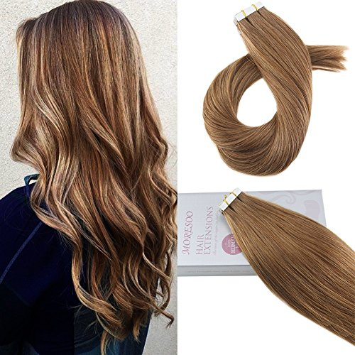 (Moresoo 16 Inch 50g/20pcs Seamless Skin Weft Tape in Hair Extensions Medium Chestnut Brown Color #8 Straight Unprocessed Remy Human Hair Tape in)
