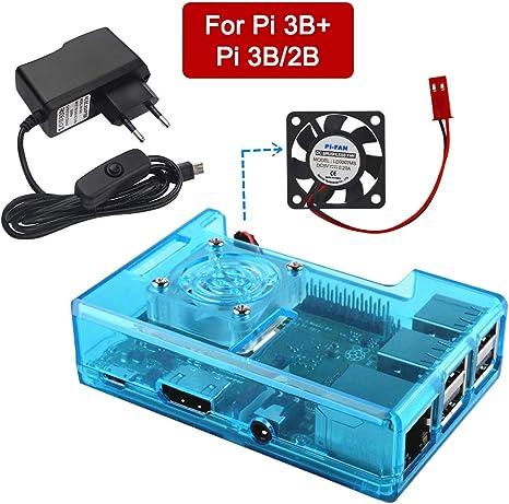 VSTON Raspberry Pi 3 B + Funda con ventilador Fuente de alimentación 5V 2.5A ON / OFF Cable de conexión para Pi 3 ...