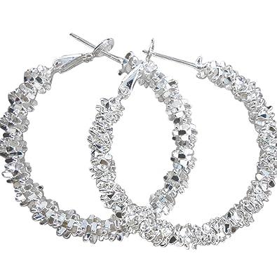 Amesii Wholesale Women Jewelry 925 Sterling Silver Stars Hoop Earring 5OWcGHZhLF