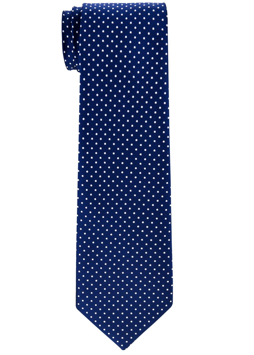 Retreez Modern Mini Polka Dots Woven Boy's Tie (8-10 years) - Navy Blue with White Dots