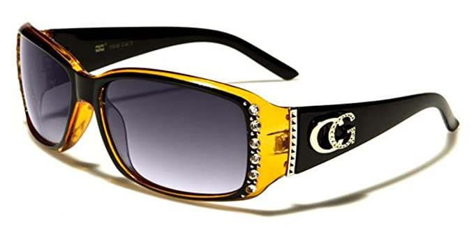288dfe89d New Womens Ladies Girls Diamante Vintage UV400 Wrap Designer Sunglasses  (Black/Orange)