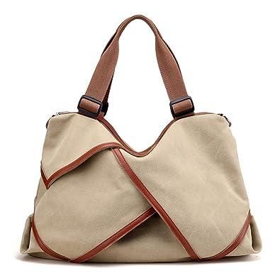 f7d12d9f8f86 Amazon.com: VigourTrader Girls' Canvas Tote Shopping Bag Wider ...