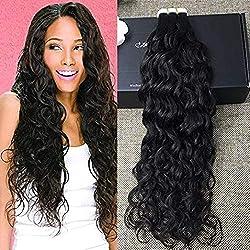 """Full Shine 18"""" Natural Black Wavy Tape in Hair Extensions Human Hair Glue in Extensions Natural Wave 50gram 20 Pcs Per Package"""