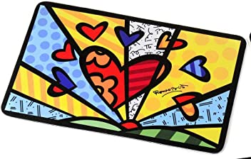 Romero Britto Large Heart Dog Or Cat Food Mat