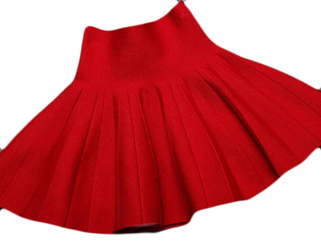 Papijam Girls Classic Pleated Knitted Elastic Waist Swing Ruched Skirts Red 3T
