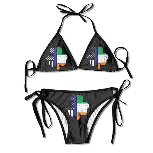 3a33481a18 Women Swimwear Four Leaf Clover Blue Thin Line Funny Boxing Bikini Set  Swimsuits 2 Piece Bikinis