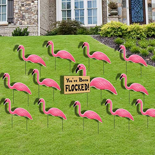 VictoryStore Outdoor Yard Sign Stakes - Flamingo Flocking - Pink Flamingo You've Been Flocked Set. 4mm Corrugated Plastic-stores and totes flat, easy to use]()