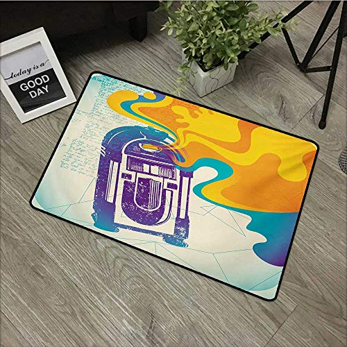 Living Room Door mat W31 x L47 INCH Jukebox,Retro Vintage Radio Music Box with Marigold Yellow Abstract Fog Like Image,Purple and Blue Easy to Clean, Easy to fold,Non-Slip Door Mat Carpet ()