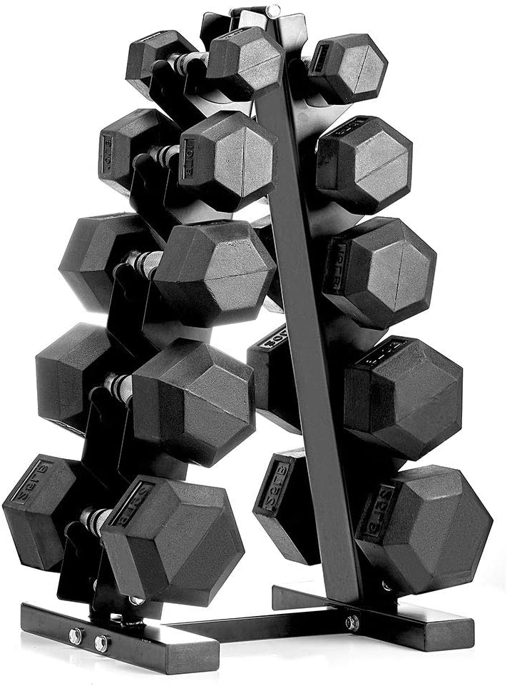 papababe Dumbbell Set with A-Frame Dumbbell Rack