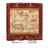 Pixels Shower Curtain (74'' x 71'') ''Red Traditional Faith''