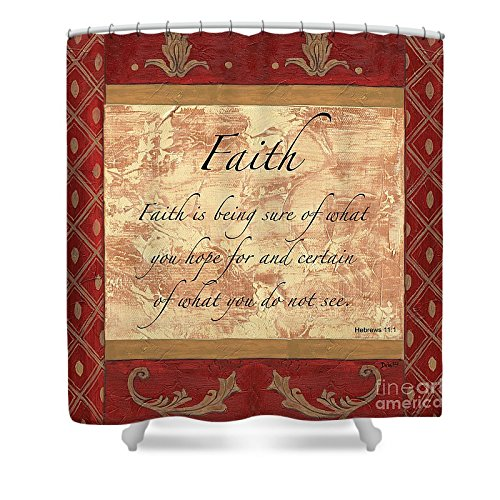 Pixels Shower Curtain (74'' x 71'') ''Red Traditional Faith'' by Pixels