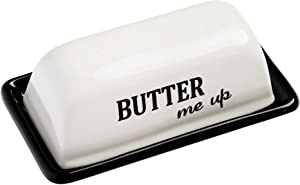"Home Essentials 63488- Black Covered Butter Dish Tray ""Butter Me Up"" 12 Ounce"