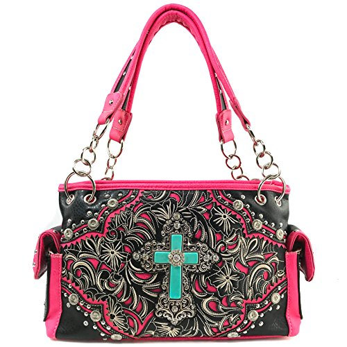 with Stone Handbag and Wallet Handbag Trifold Justin West Strap Set Floral Messenger Long Turquoise Pink Rhinestone Body Wallet Western Embroidery Purse Bag Cross Shoulder Cross qqzwBEHO