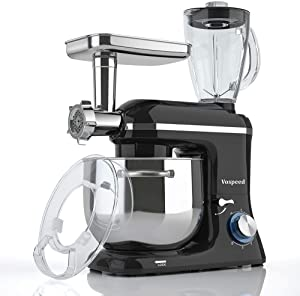 Vospeed Stand Mixer Tilt-Head, 850W 7.5 QT 6 Speed Multi-function Electric Kitchen Mixer with Stainless Steel Bowl, Beater, Hook, Whisk, Meat Grinder & Juice Blender with 1.5L glass jar, Dishwasher Safe (Black) (Renewed)