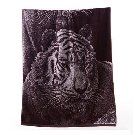 Wddwarmhome Brown toalla de baño algodón suave absorción de agua toalla Tiger figura toalla de baño