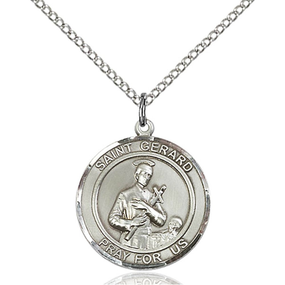 Bonyak Jewelry St Gerard Hand-Crafted Round Medal Pendant in Sterling Silver