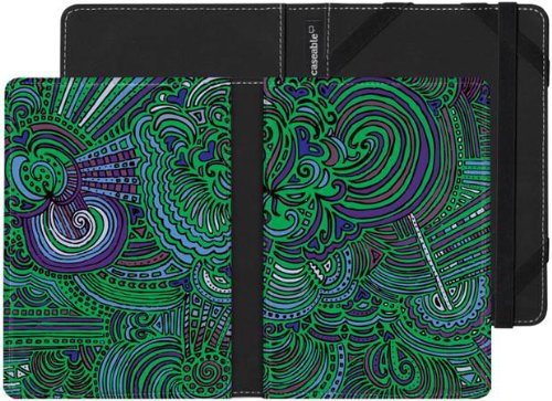 """Kindle Touch Case with """"Drawing Meditation Jungle Green"""" Design by Kaitlyn Parker"""