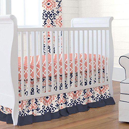 Carousel Designs Navy and Coral Ikat 2-Piece Crib Bedding Set