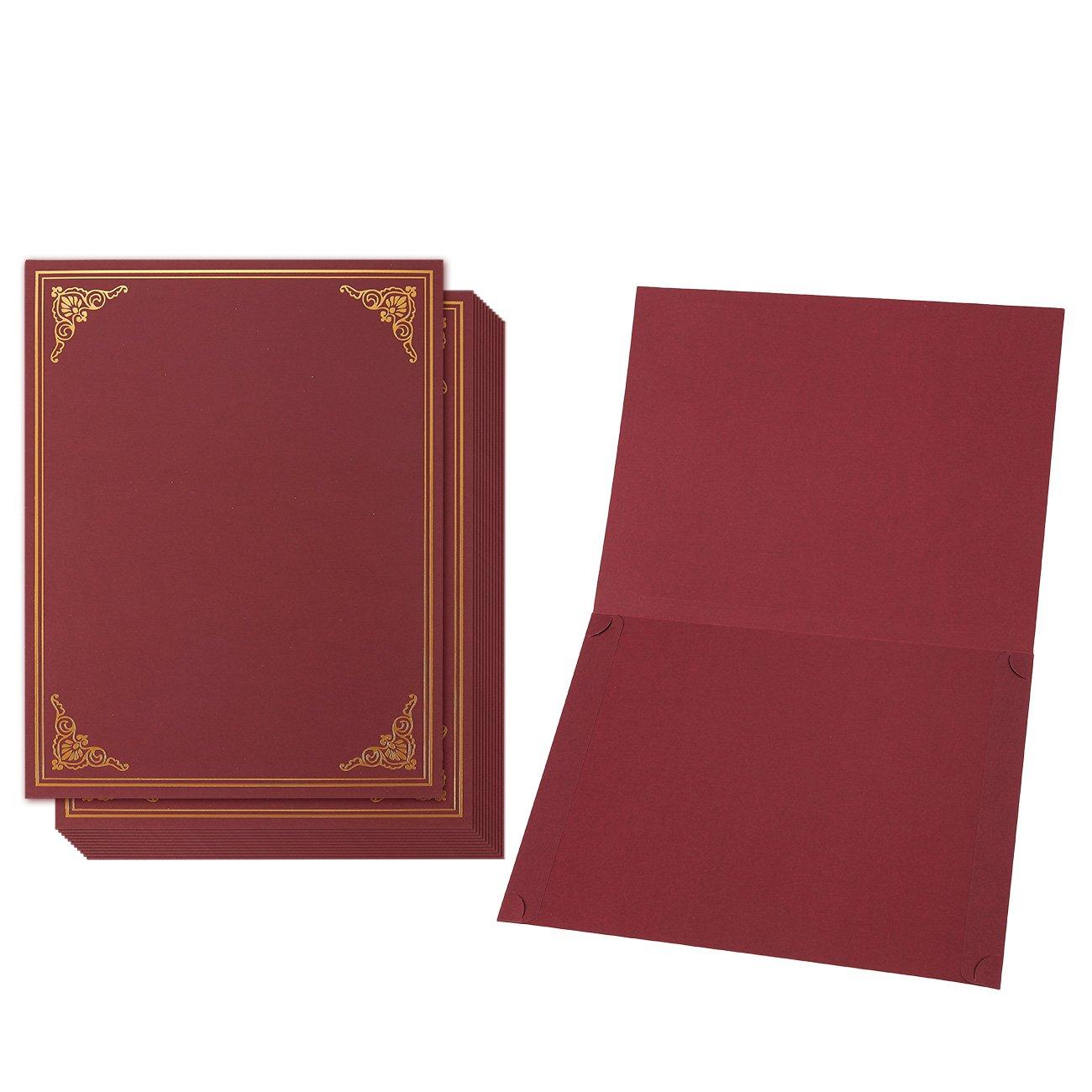 12-pack certificate Holder–diploma di documento, copertura per letter-sized Award certificati, rosso, oro, 28,4x 22,4cm Juvale