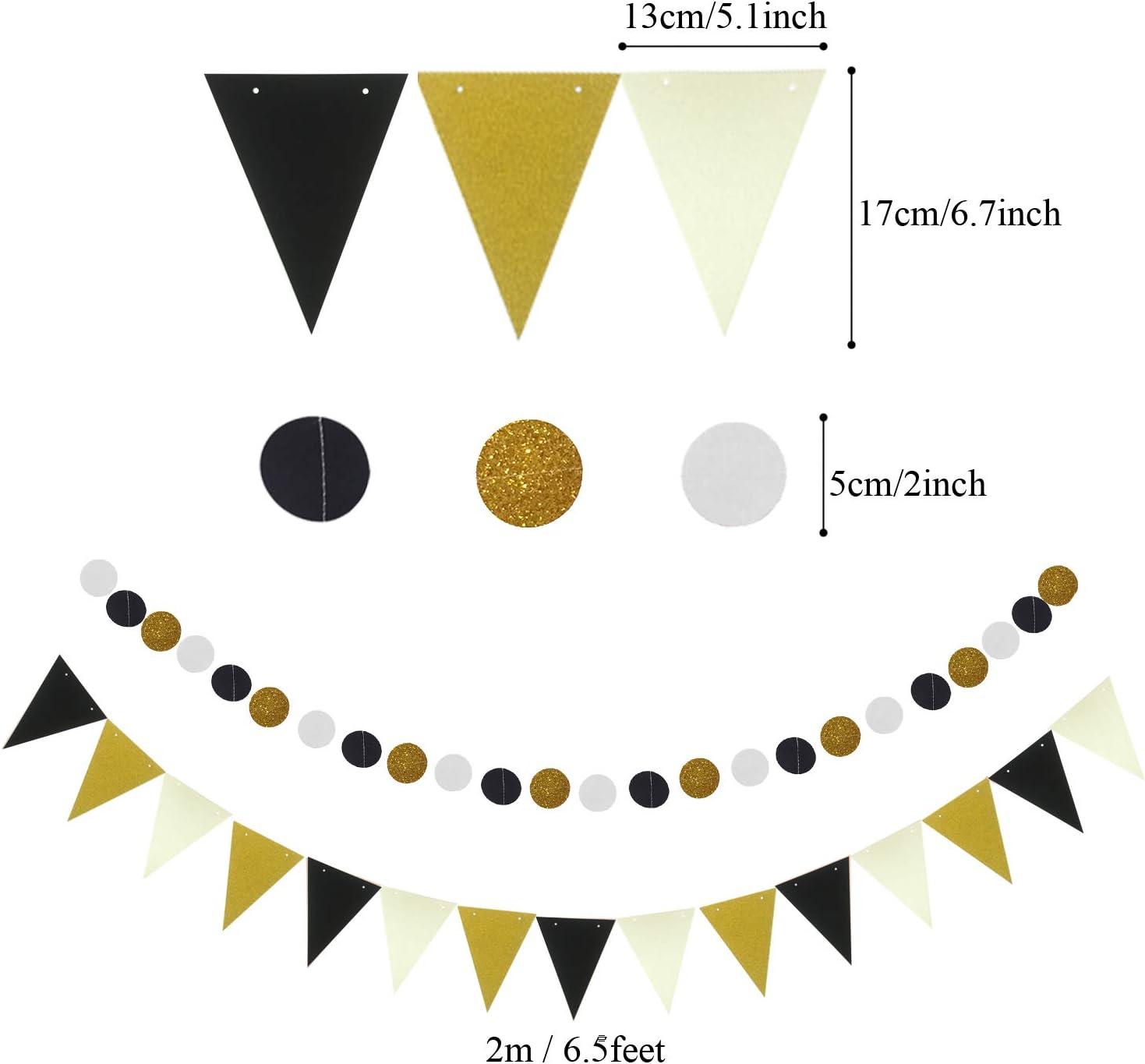 Pom Poms 21 Pcs Black and Gold Hanging Paper Fans Zerodeco Party Decoration