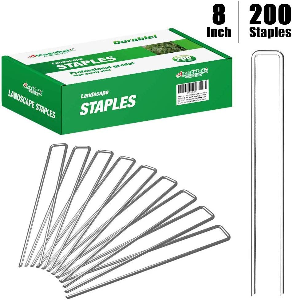 Amagabeli 8 Inch Galvanized Landscape Staples 200 Pack Garden Stakes Heavy-Duty Sod Pins Anti-Rust Fence Stakes for Weed Barrier Fabric Ground Cover Dripper Irrigation Tubing Soaker