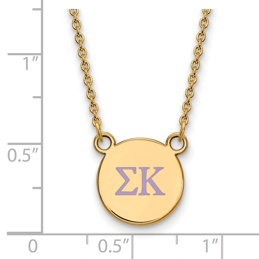 12mm Jewel Tie 925 Sterling Silver with Gold-Toned Sigma Kappa Extra Small Enl Pendant with Necklace