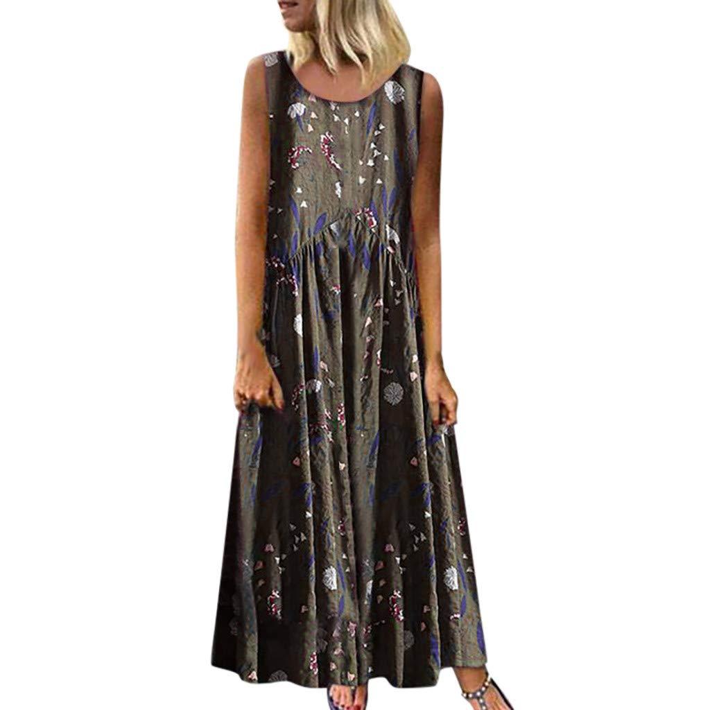 Women Plus Size Dress, O-Neck Ethnic Style Floral Print Vintage Sleeveless Long Maxi Dress Green