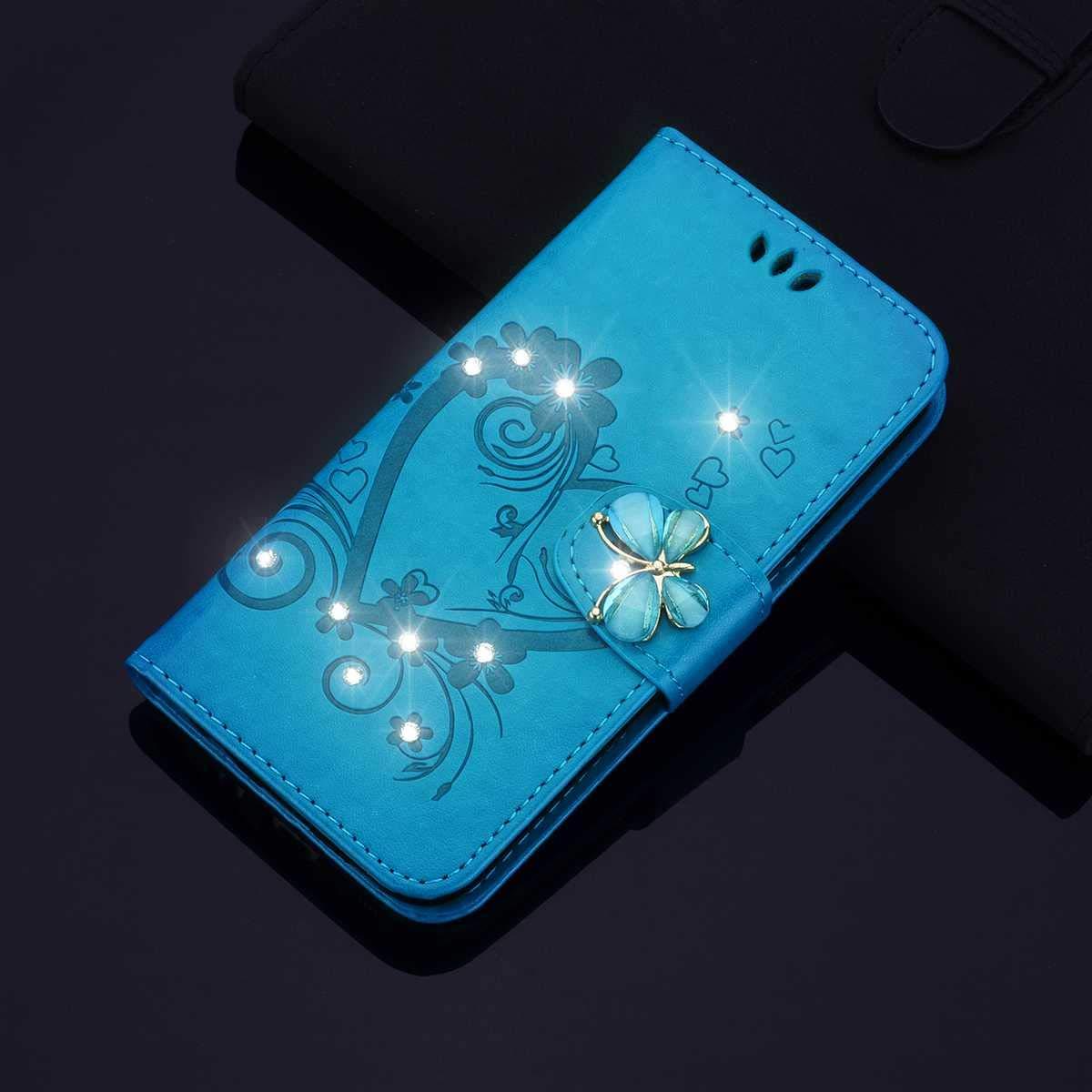 Blau Galaxy J3 2016 H/ülle SONWO Premium Glitzer Strass Flip PU Leder Handyh/ülle mit Diamant Magnetverschluss und St/änder Funktion f/ür Samsung Galaxy J3 2016