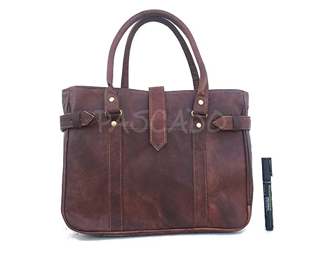 a7cb75487136 Image Unavailable. Image not available for. Color  Pascado women s small  leather top handle tote shoulder bag 10x13 inch vintage genuine