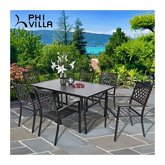 PHI VILLA Metal Outdoor Patio 60 inch Rectangular Dining Table and Chairs Set of 7- Black - Durable metal steel frame longevity with e-coating and use black high quality coating with gold spots.,rust resistant and weather resistant,bring you years of enjoymen; Stylish modern slate design with metal very sturdy, easy to assemble, and easily cleaned up with damp cloth and water; You can using the table as a buffet for the party or a delicious BBQ and family dinners, this table is designed to fit any kind of lifestyle. - patio-furniture, dining-sets-patio-funiture, patio - 618QrQkq0tL. SS570  -