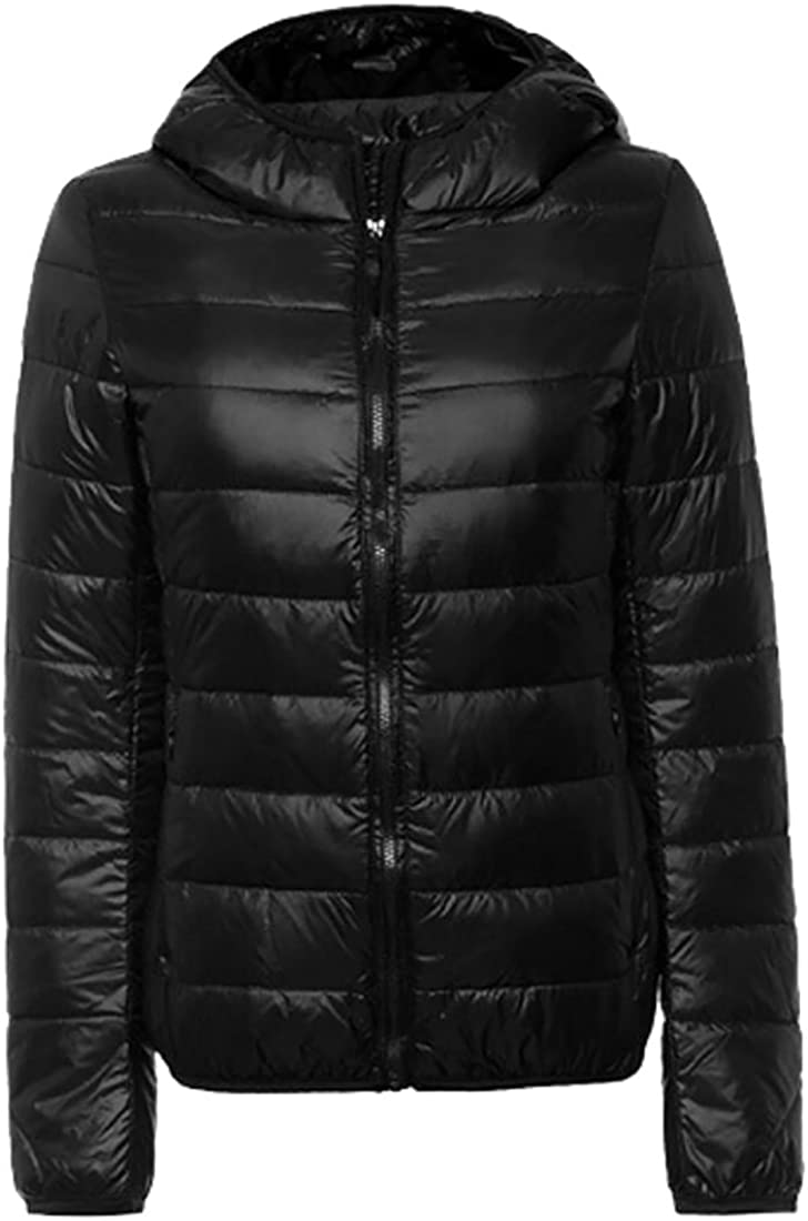 lovever Womens Winter Casual Long-Sleeved Hooded Puffer Down Jacket from Zipper Jacket