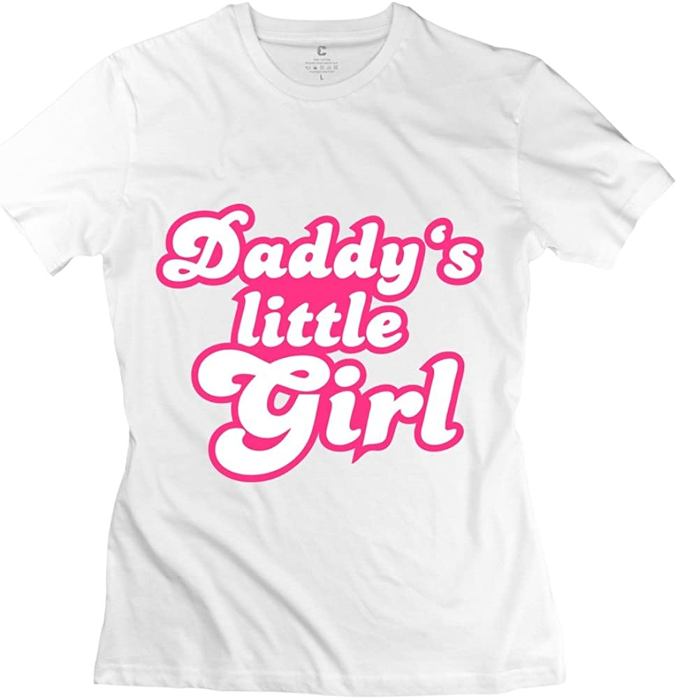 ZLSJ Women's Tshirts Daddy's Little Girl in Pink Font White