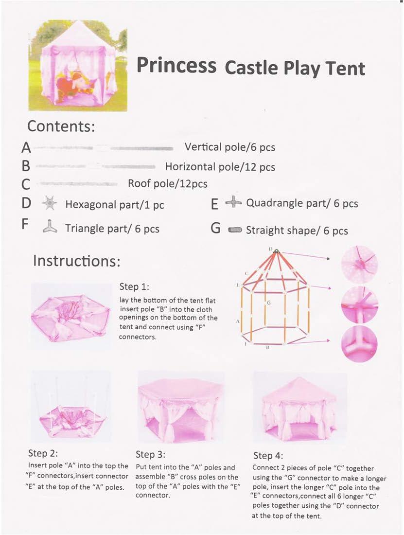 los ni/ños Nook Tiendas de campa/ña para Uso Interior y Exterior MOKY Tienda de los ni/ños Regalo del beb/é Castillo de la Princesa la Tienda del Juego ser Utilizado Durante a/ños de Edad Diez,A