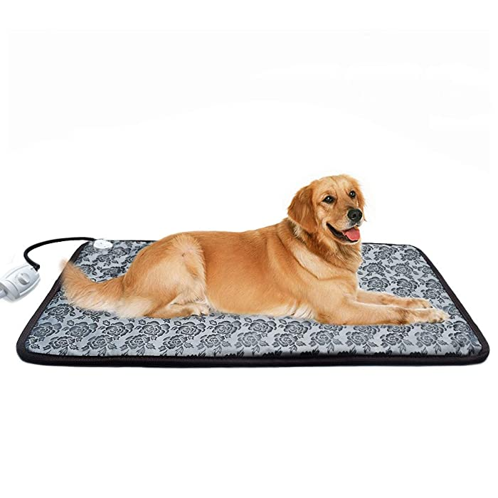 RIOGOO Pet Heating Pad Large, Dog Cat Electric Heating Pad Indoor Waterproof Adjustable Warming Mat with Chew Resistant Steel Cord