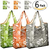 Reusable Shopping Bags Foldable | Pack of 6 Nylon Shopping Grocery Bags Floral & Cute | JARTON Compact Purse Shopping Bags with 35lbs Weight Capacity