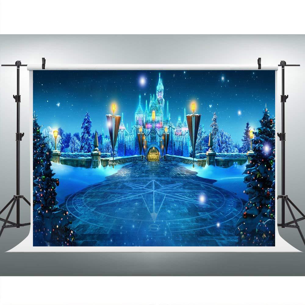 クリスマス写真背景 ウェディング 10x10 ウィンターワンダーランドフォレスト キャッスル フォト背景 ブルー ノースポール スタジオ背景布 カスタマイズ可   B07GNF5LBD