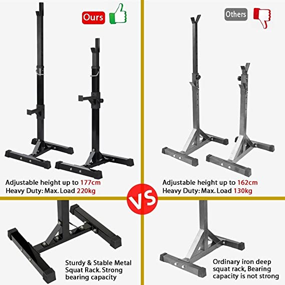 Amazon.com : Yaheetech Adjustable Squat Stand Rack Solid Steel Barbell Rack Press Gym Workout : Sports & Outdoors