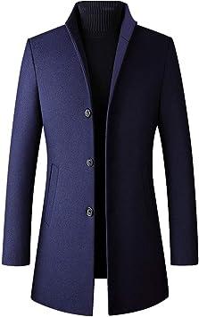 メンズファッションウールブレンドアウタージャケットスマートカジュアルトレンチウィンターウールシックコートスタンドカラーオーバーコートプラスサイズ